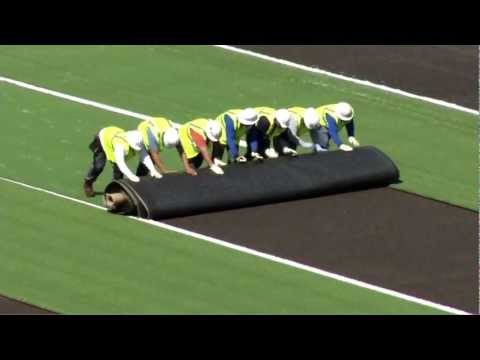Memorial Stadium field turf install