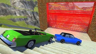 Crazy Vehicle Stairs Jumps Down Through Red Laser Wall (Burning Car) - BeamNG drive Stairs Jumps