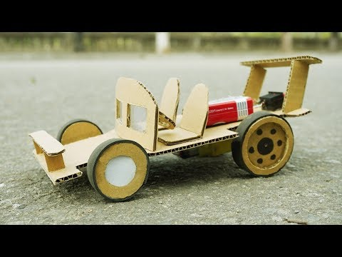 DIY - How to Make F1 Racing Car from Cardboard (DC Motor)