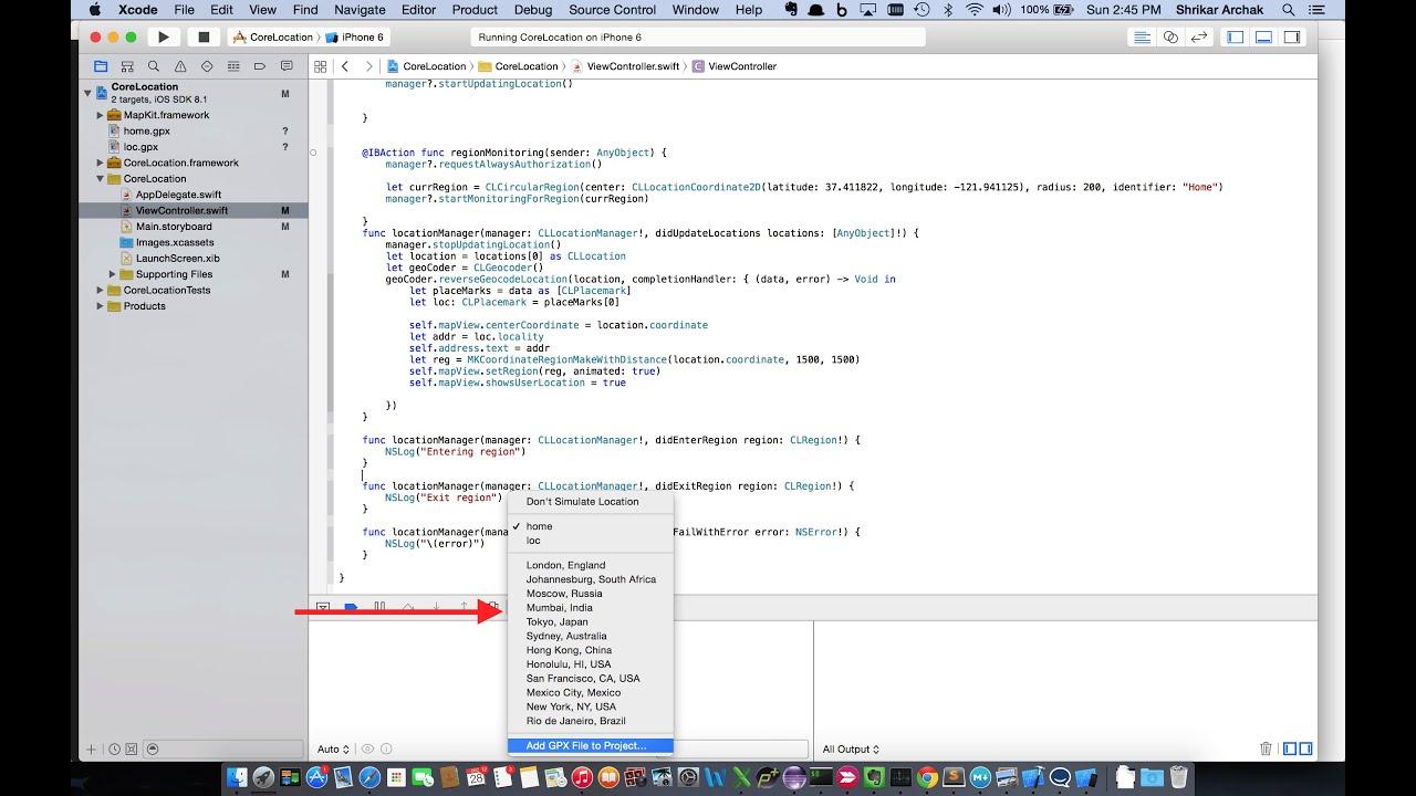 Swift Tutorial : CoreLocation and Region Monitoring