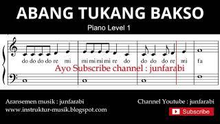 not balok abang tukang bakso - tutorial piano grade 1 - notasi lagu anak - doremi solmisasi