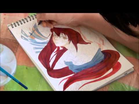 ขั้นตอนวาดการ์ตูนด้วยสีน้ำ Coffee