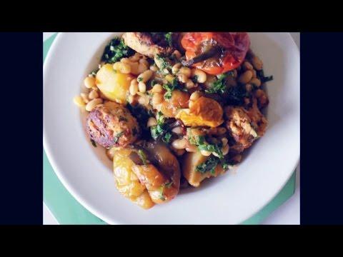 haricots-blancs-et-pommes-de-terre-sautés-aux-boulettes-de-poulet
