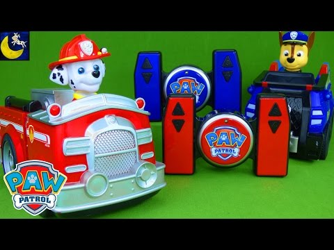 Paw Patrol Toys! Remote Control Marshall Fire Truck Chase Police Cruiser Radio RC Control Car Toys!