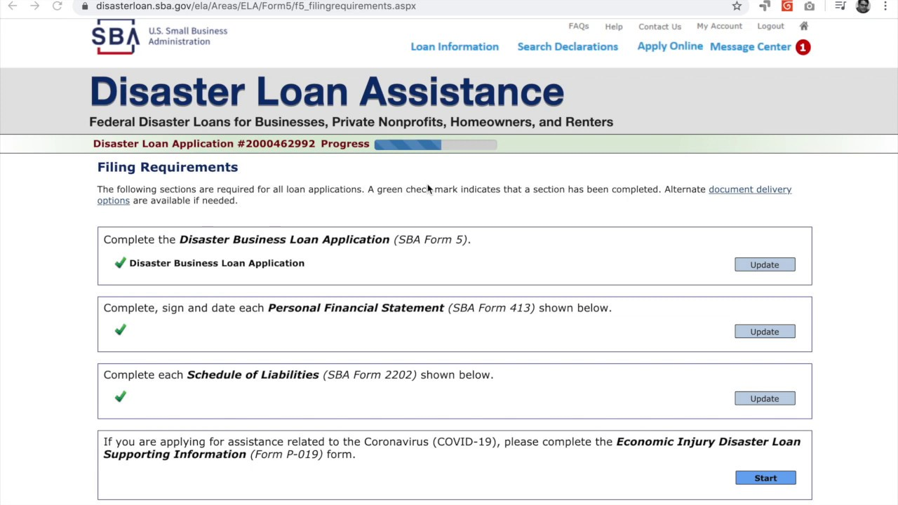 Quick Guide Sba Disaster Loan Application Specific To Coronaviru Covid 19 Youtube Personal Financial Statement Relief