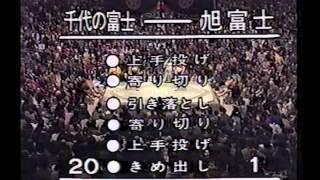 旭富士初優勝の瞬間(昭和63年初場所)対千代の富士戦