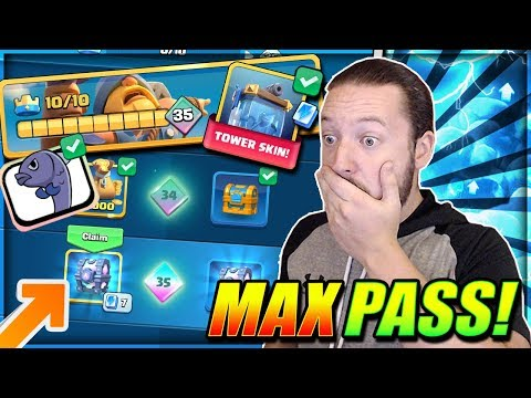 GEMMING MAX BATTLE PASS REWARDS!! ALL 35 PASS ROYALE TIERS UNLOCKED!!