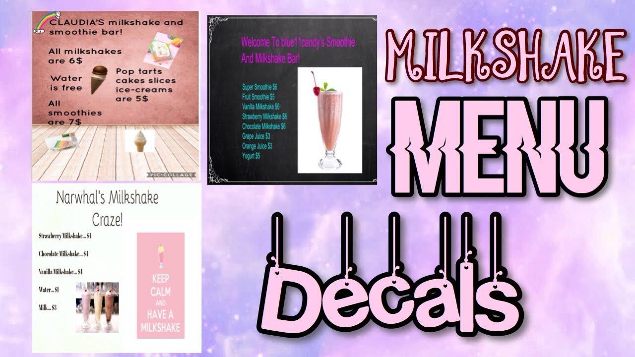 Roblox Bloxburg Milkshake Menu Decal Id S Youtube