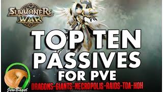 SUMMONERS WAR : TOP TEN Passives for PVE! (Dragons-Giants-Necro-Raids-HoH-ToA)