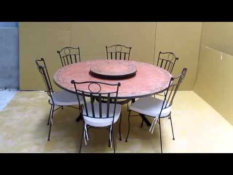 Table mosaique avec plateau tournant - YouTube