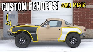 homepage tile video photo for PHASE TWO of the AWD MIATA Build Begins! - Fabricating Custom Fenders & Hood Scoop