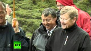Rare footage: 2011 Bilderbergers mountain walk - Not a single black person there. hmm Depopulation?