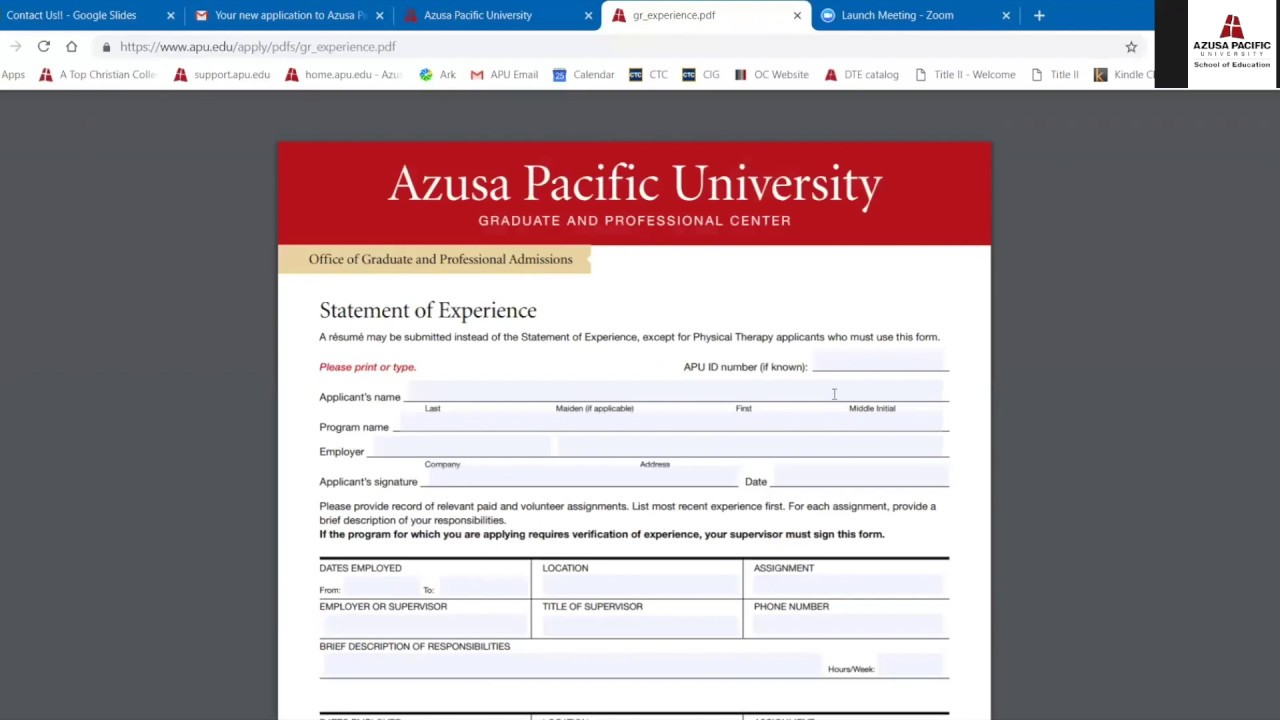 Admission Clinical Counseling Certificate Azusa Pacific