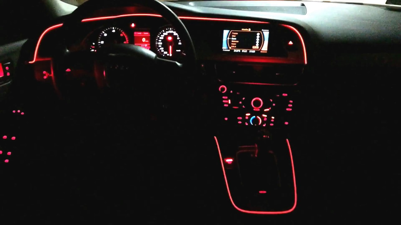 Audi A4 B8 Ambiente Led Neon Wisienka - YouTube