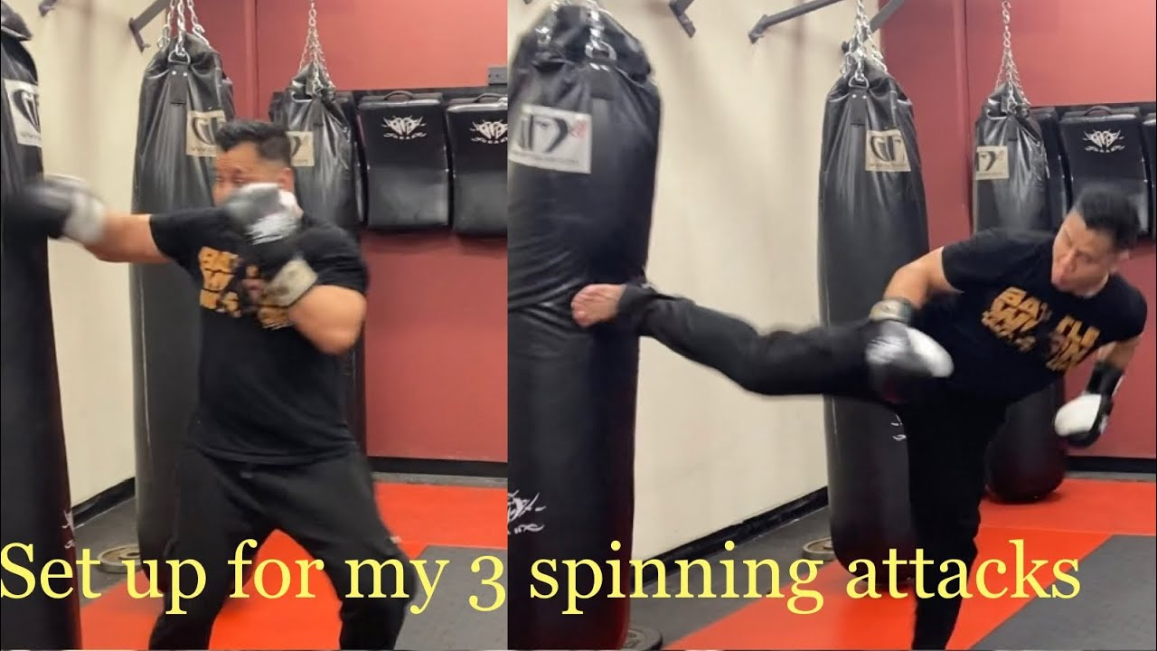 Quick set up for my spinning back fist, spinning back kick & spinning wheel kick.