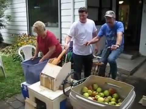 Bicycle Powered Apple Grinder And Hydraulic Cider Press
