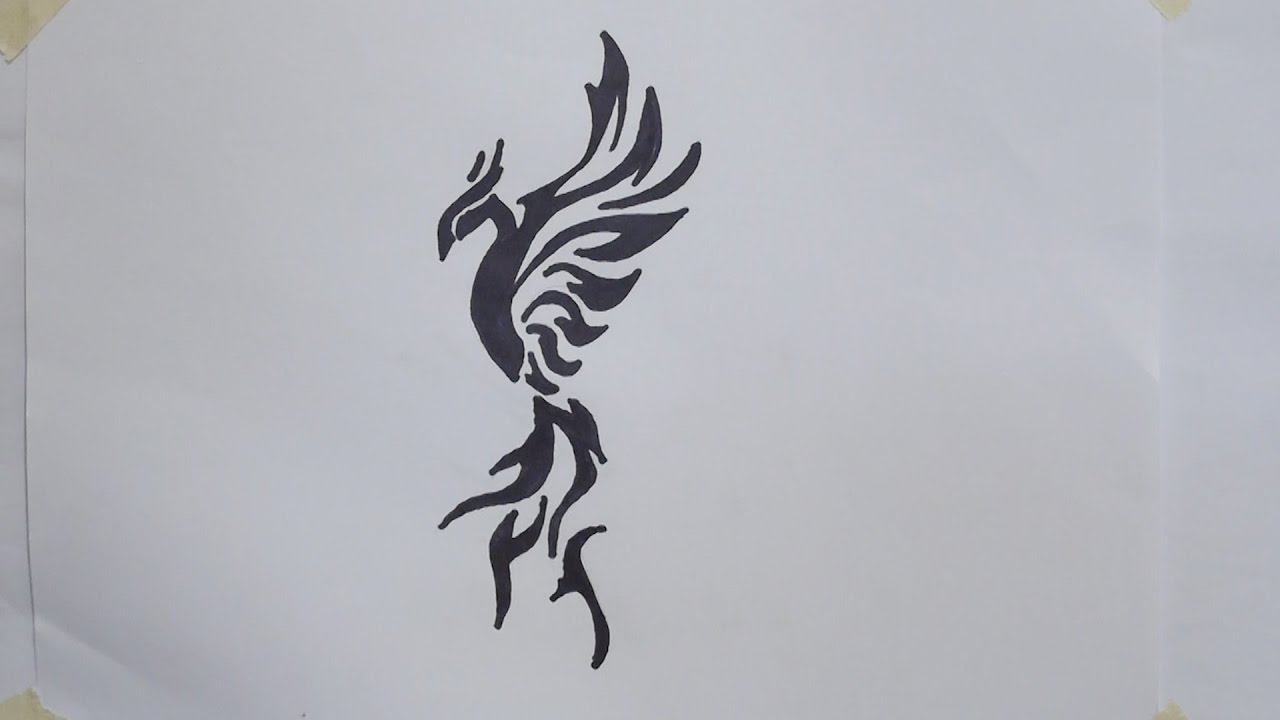 How To Draw Phoenix Tribal Tattoo