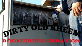 HVAC-R: Evaporator Coil and Blower wheel wash on an OLD Rheem RTU