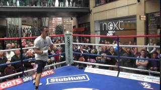 JOSH WARRINGTON SHADOW BOXING & SKIPPING IN FRONT OF FANS @ TRINITY LEEDS AHEAD OF BRUNKER CLASH