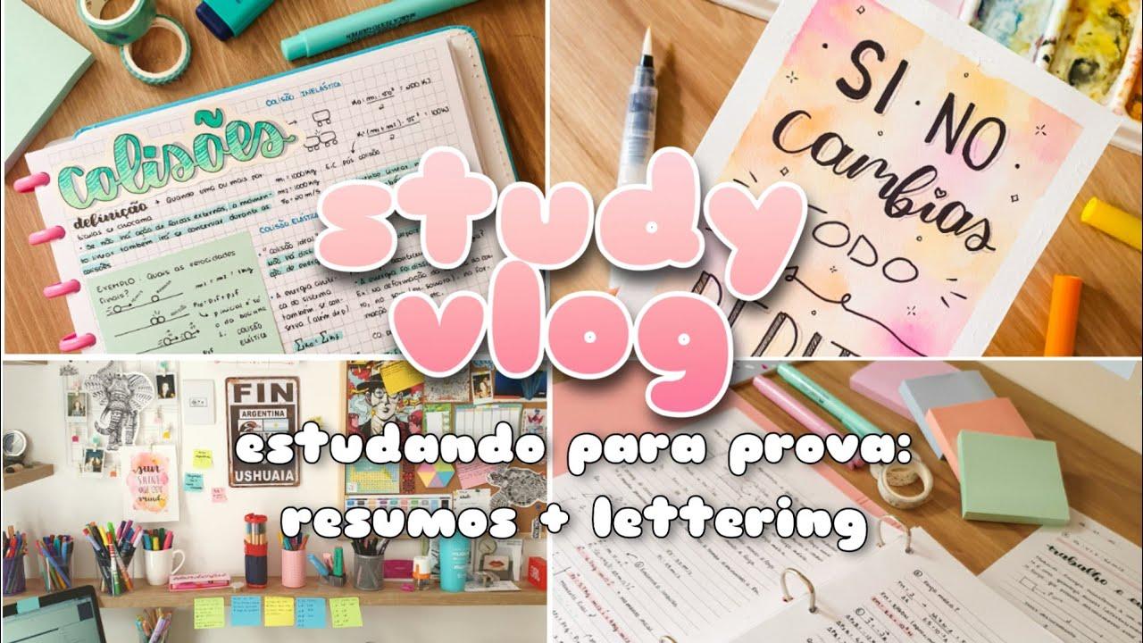 STUDY VLOG | Semana de provas + resumos + lettering | Malena Studies