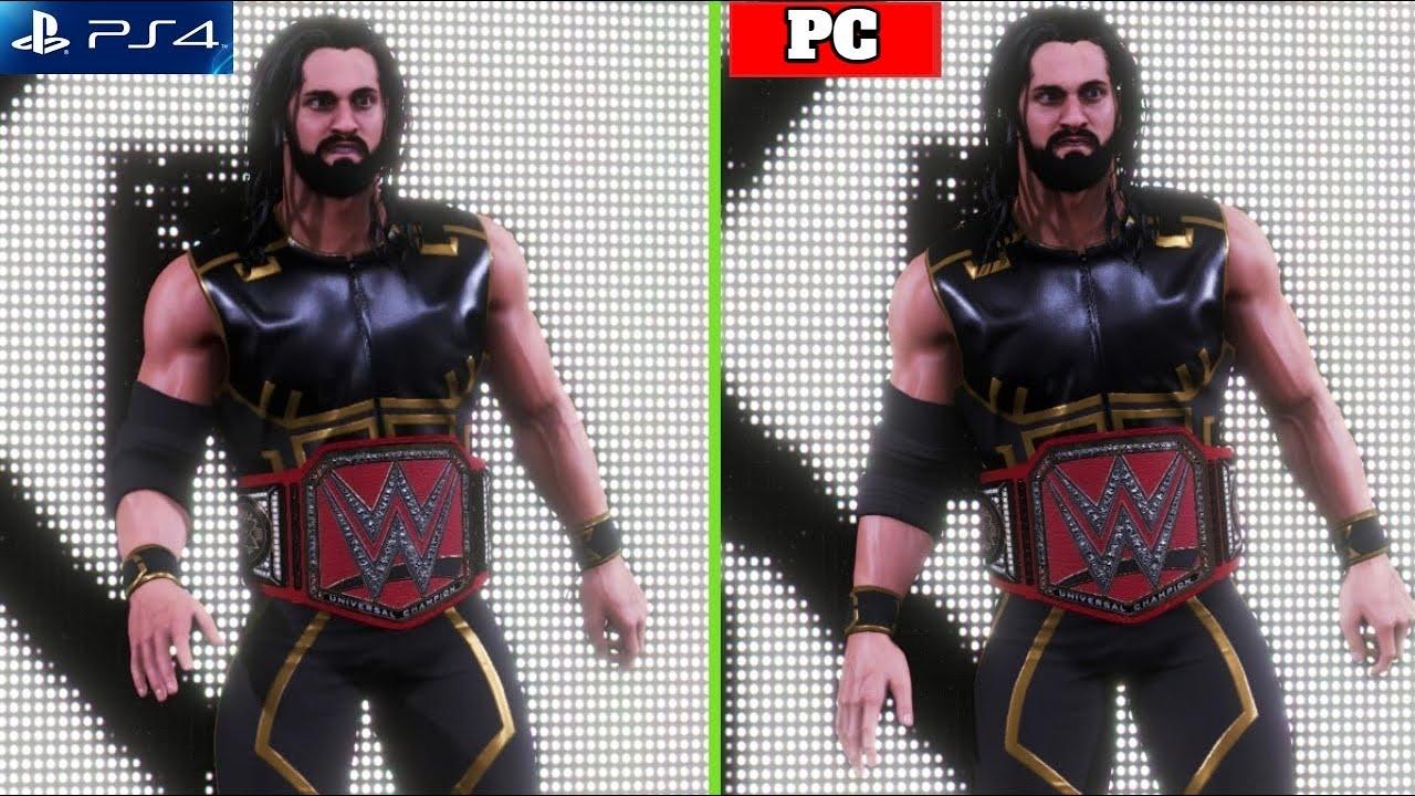 WWE 2K20 PS4 Slim Vs PC Comparison - WWE 2K20 Graphics & Gameplay On PS4 Slim Vs PC ||