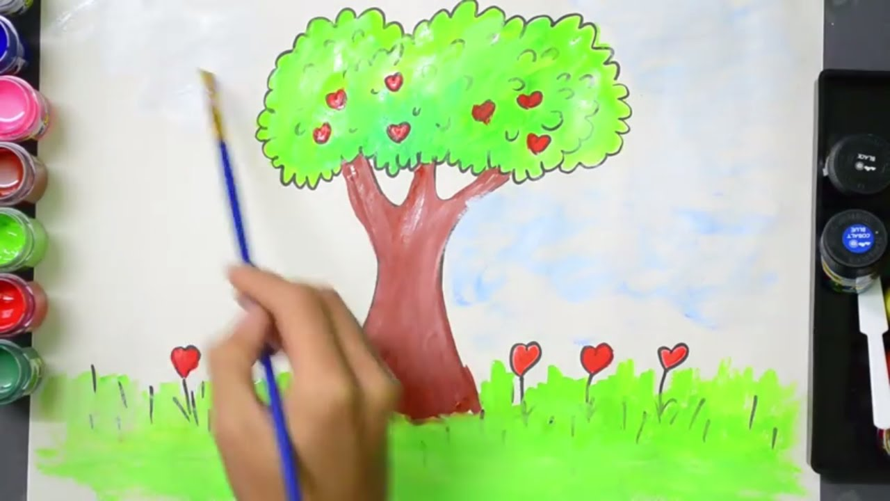 Tree Drawing and Coloring | Tree Coloring Pages For Kids To Learn ...