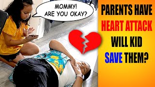 Parent Has Heart Attack In Front of Child - Will They Call 911? #HeartAttackChallenge #pranks