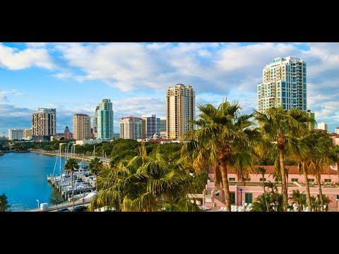 Aerial Downtown Saint Petersburg, Florida and St.pete Beach