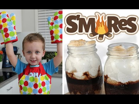 S'mores Cake Jars! Cooking with Squish Episode 2 - Great Kids Smores Recipe