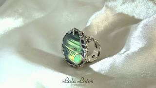 Mermaid's Grotto labradorite & opal ring by Lala Lotos.