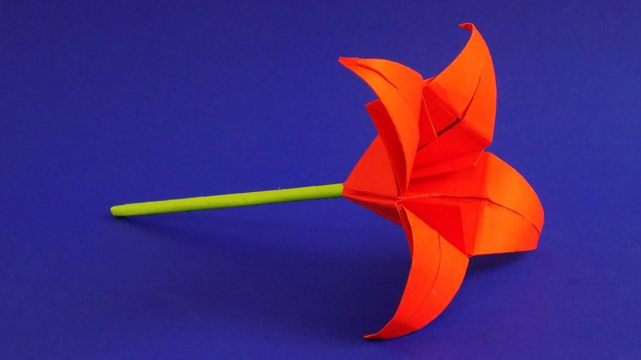 Цветы из бумаги. Оригами лилия. Подарок маме своими руками