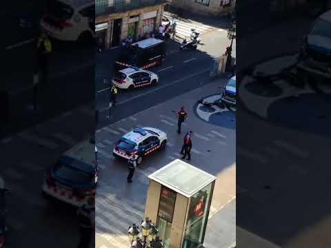 Imagen aérea del lugar del atropello en les Rambles de Barcelona