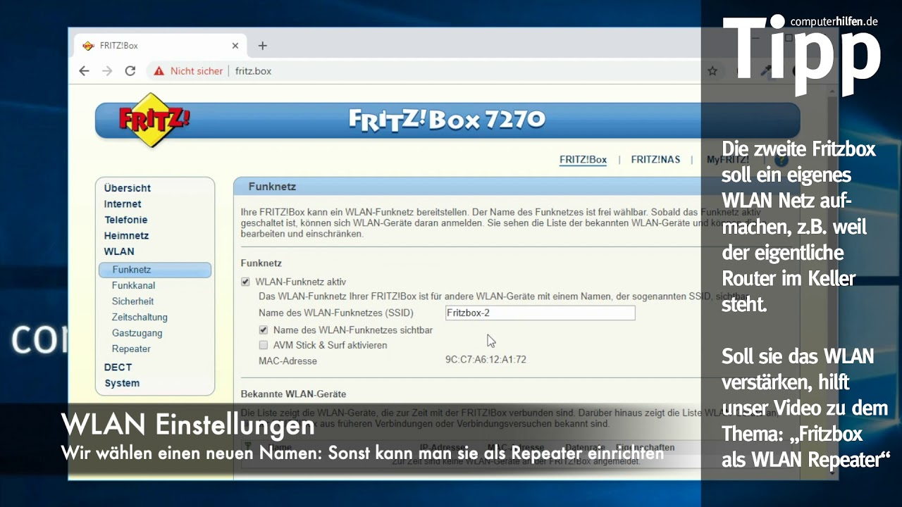 2. Fritzbox als WLAN Access Point / Repeater - YouTube