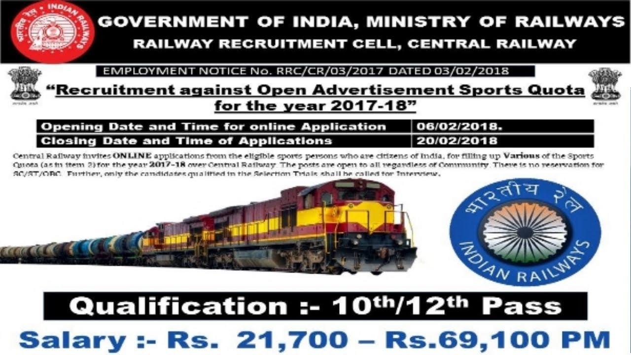 Indian Railways Recruitment 2018 | 10th -12th pass jobs | Govt Jobs