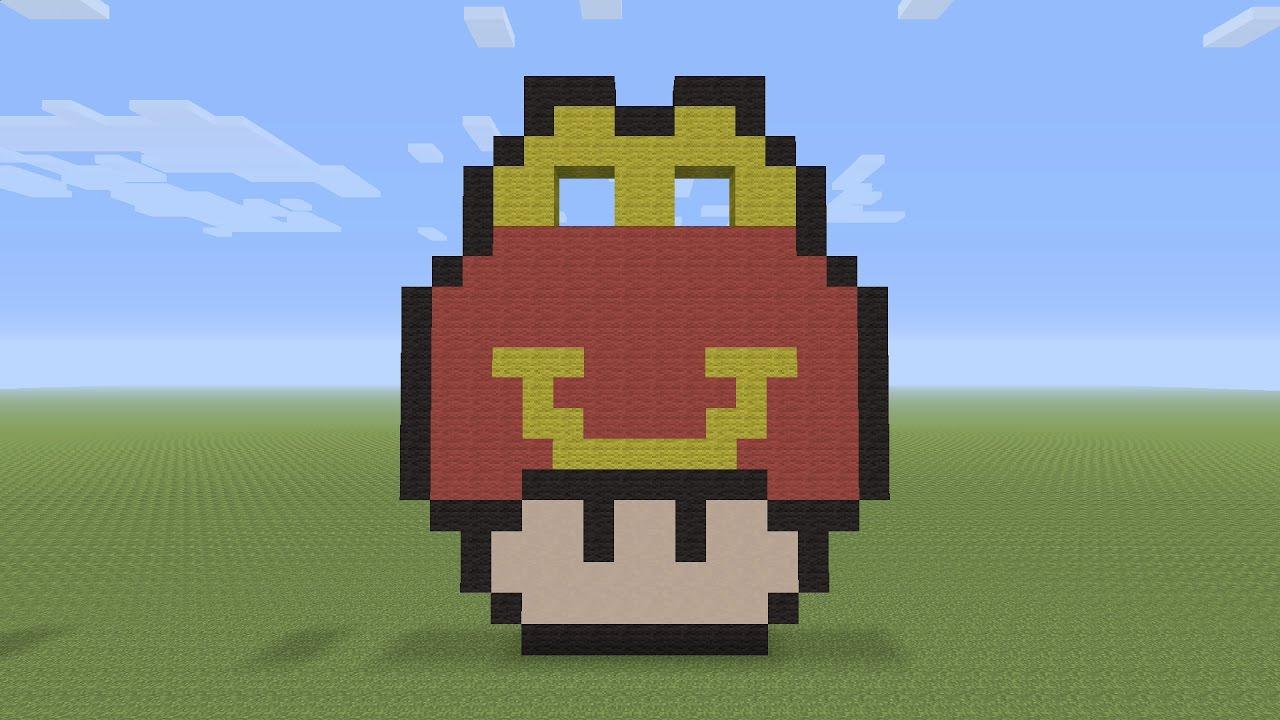 Minecraft Pixel Art Mcdonald S Happy Meal Mushroom Head Youtube