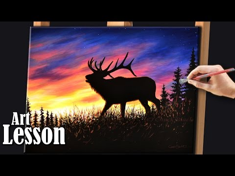 How to paint a sunset with Wildlife