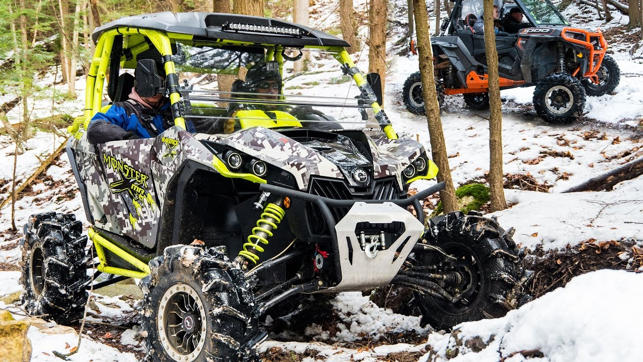 creek cruzin 39 in the sxs 39 s can am polaris utv 39 s trail riding in snow covered forest youtube. Black Bedroom Furniture Sets. Home Design Ideas