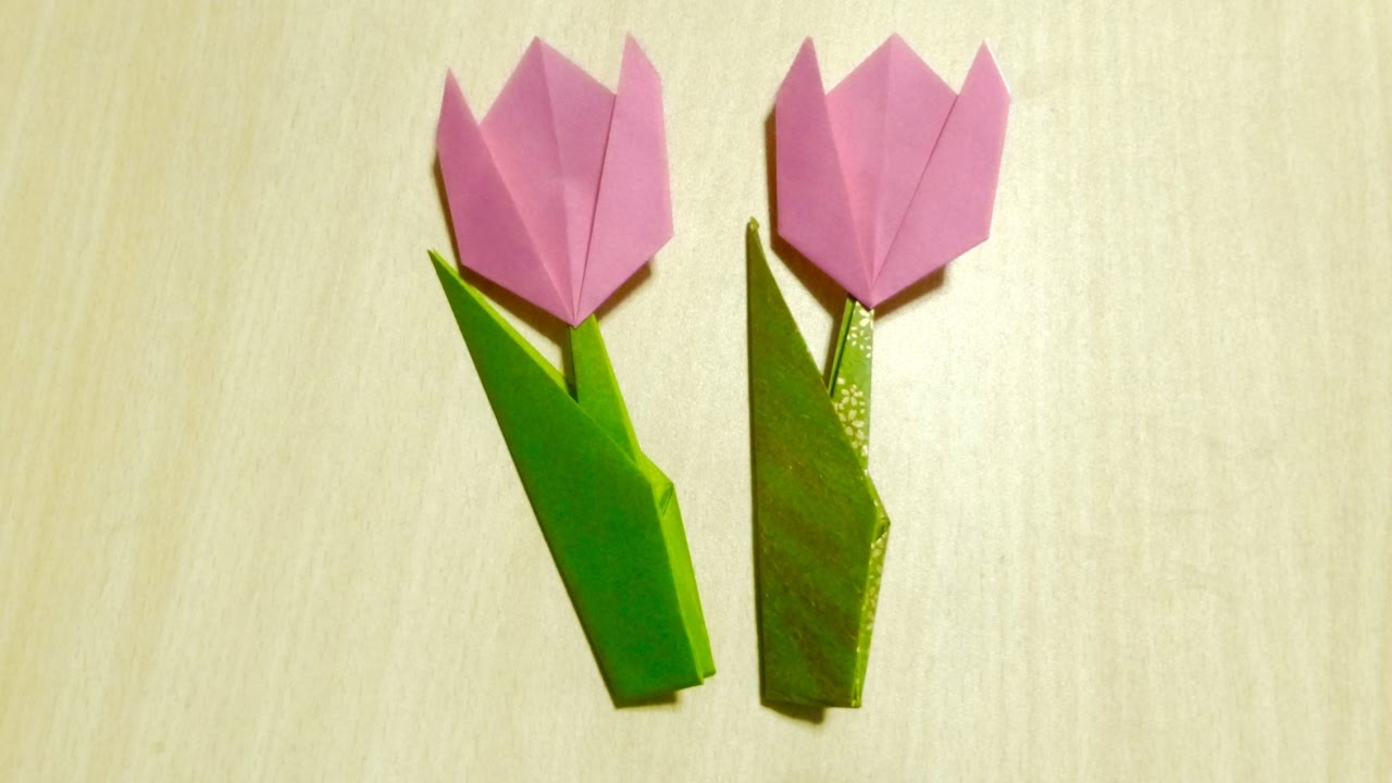 Diy craft how to make tulip origami the art of folding for Craft work with paper folding