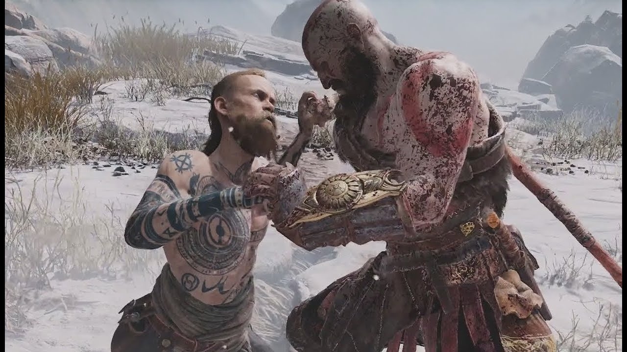 Kratos Vs The Stranger Fight Scenes God Of War Ps4