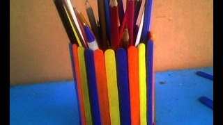 How To Make A Pen Or Pencil Stand --- Using Popsickle Or Icecream Sticks