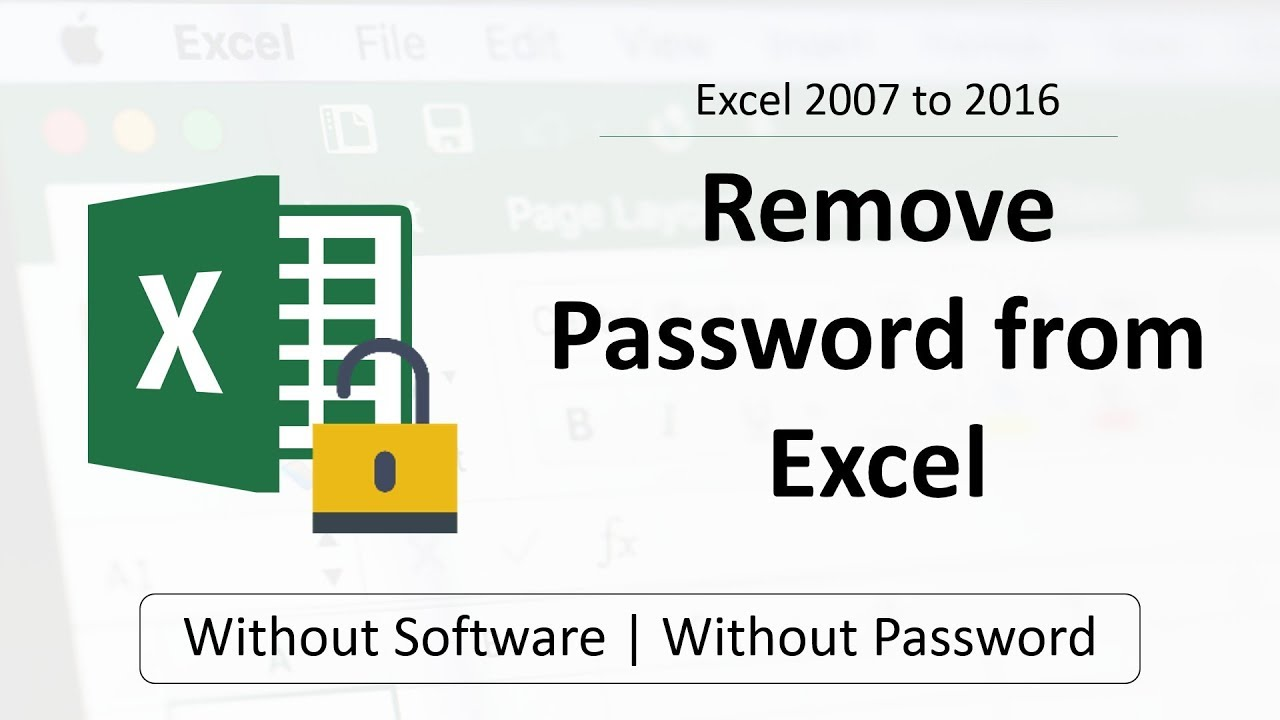 encrypt with password excel remove