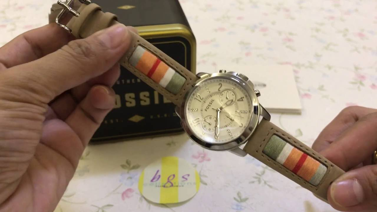 Fossil Womens Es4085 Stainless Steel Quartz Chrono Leather Strap Es3862 Original Watch