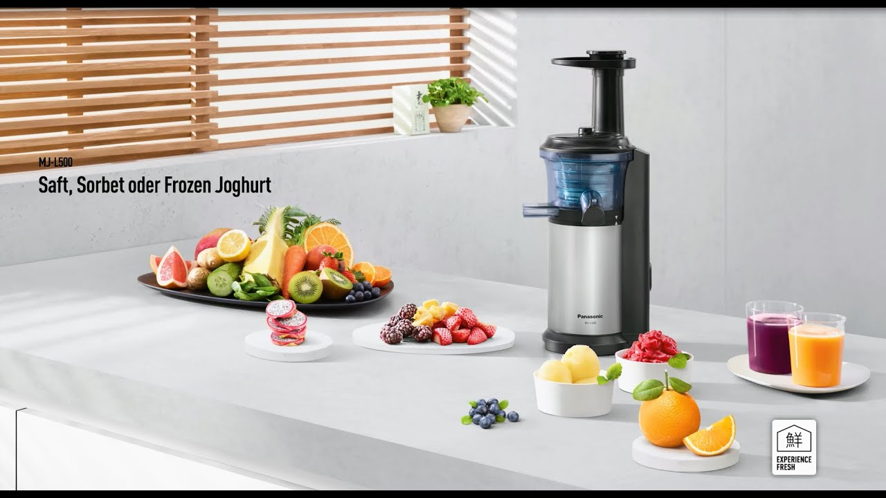 Panasonic Slow Juicer MJ-L500 fur S?fte, Sorbets und Frozen Joghurt - YouTube