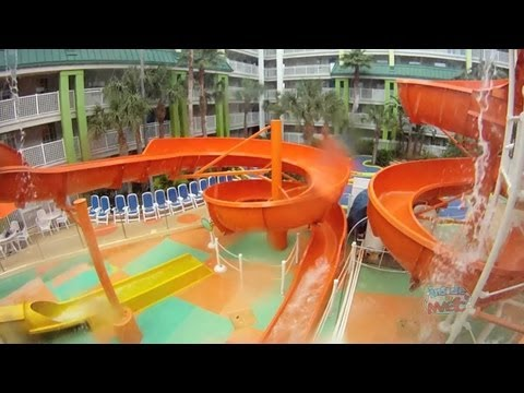 Nick Hotel Pool Slime And Water Slides In Orlando Youtube