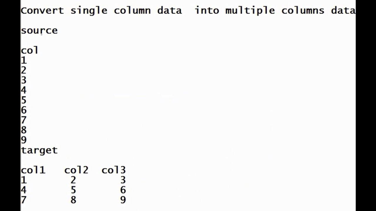 Convert single column data into multiple columns data ex-2