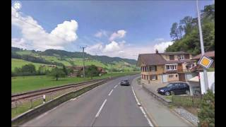 Google street view, Switzerland Alps (Stop motion, Time lapse video) HD