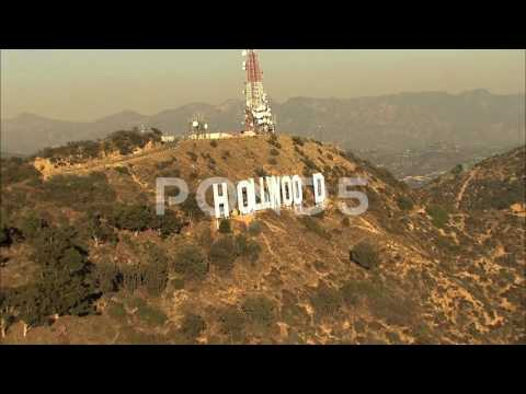 Aerial Hollywood Sign Los Angeles Usa Film Vacation Travel