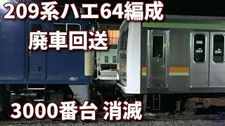 【209系ハエ64編成 NNへ廃車回送  3000番台消滅】