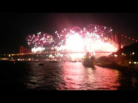 The spectacular fireworks  on Bosphorous Bridge