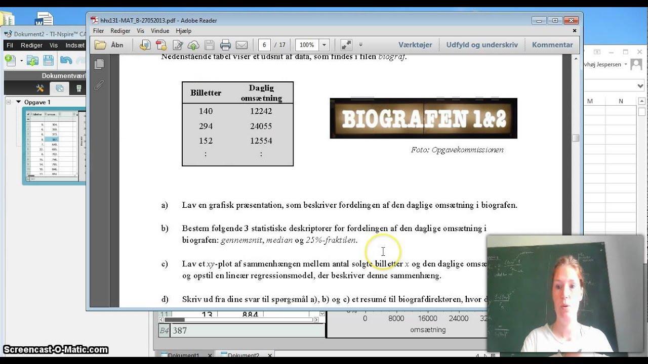 Nspire: løsning af eksamensopgave i statistik Mat B HHX